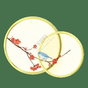 新年國風紅梅和鳥邊框