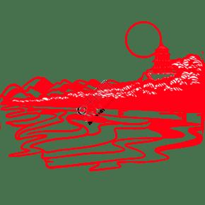 手绘中国风猪年世界名胜古迹风景区剪纸窗花颐和园