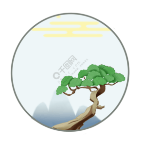 新年國風松樹邊框