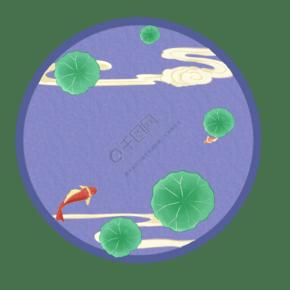 新年國風錦鯉荷邊框