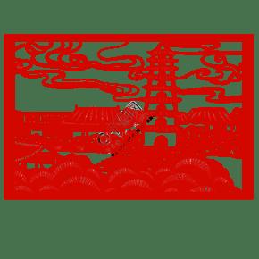 手绘中国风猪年世界名胜古迹风景区剪纸窗花