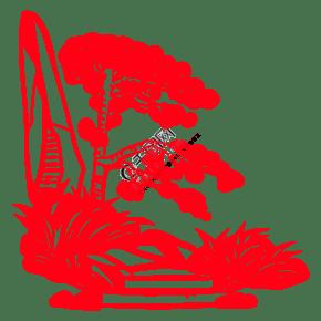手绘中国风猪年世界名胜古迹风景区剪纸窗花松树下