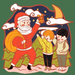 圣诞节圣诞老人与小孩卡通Q版形象手绘