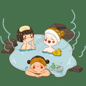 泡溫泉場景溫泉浴冬季活動