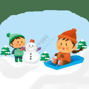 下雪天堆雪人滑雪卡通人物素材