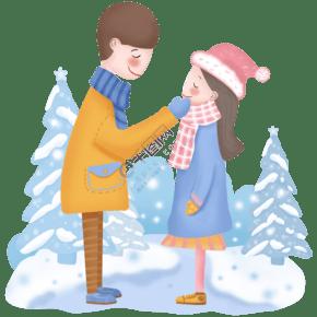 手繪卡通情侶冬日場景