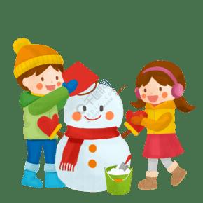 下雪天堆雪人卡通人物素材
