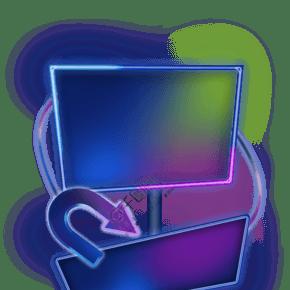彩虹光感發光文字框
