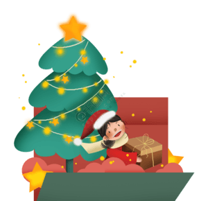 圣诞节圣诞树女孩礼物贺卡