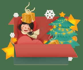 圣诞节女孩礼物贺卡