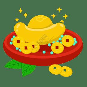 手绘铜钱元宝插画