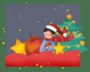 平安夜送苹果的圣诞女孩