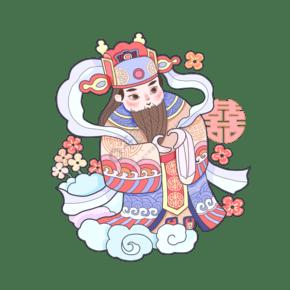 猪年春节神仙福禄寿喜祥云可爱祝贺PNG装饰人物