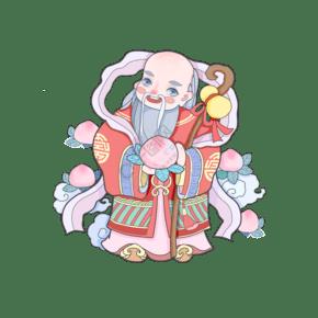 福禄寿喜中国神仙寿桃祝贺吉祥春节PNG猪年