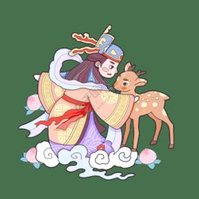猪年神仙传统福禄寿喜可爱吉祥PNG装饰2019
