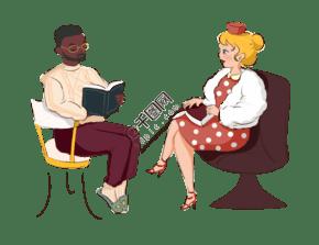卡通手绘坐着聊天的男士女士创意海报
