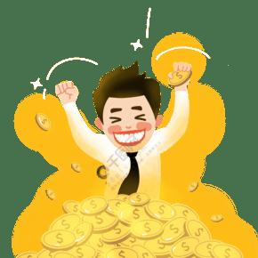 新年黄色系手绘商业金币开心跳起免抠人物