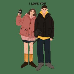 卡通手绘幸福情侣创意海报