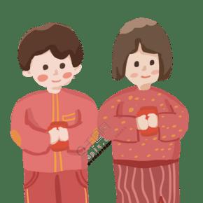 新年春節紅包男孩女孩人物扁平手繪祝福