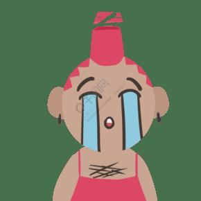 大哭的小男孩手绘插画