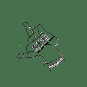 神仙手拈花菩萨白描PNG国画