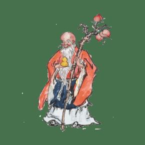 中国传统神仙寿星寿桃PNG国画