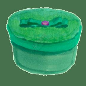 绿色小蝴蝶结圆形盒子