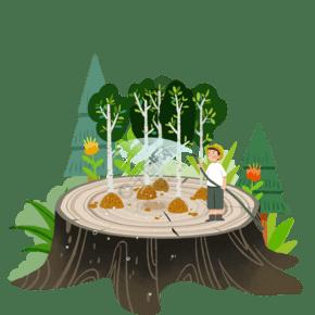 植树节卡通人物手绘插画