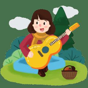 春季游玩歌唱吉他手繪人物PNG素材