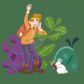 立春人物和小兔子插画