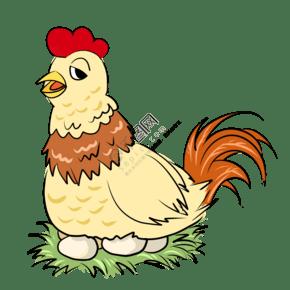 卡通家禽母鸡下蛋鸡
