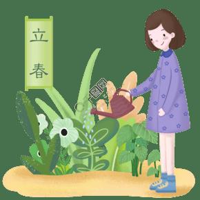 立春時節女孩在給植物澆水場景
