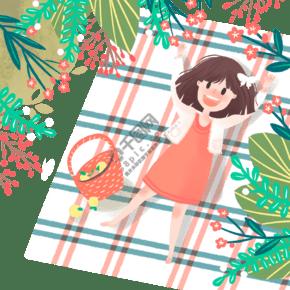 手繪可愛春日野餐場景