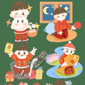 2019年春节新年卡通男孩买年货套图