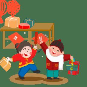 2019新年新春春节卡通娃娃男孩女孩买年货