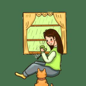 手繪谷雨喝茶插畫