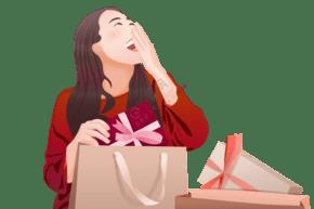 新年红色手绘卡通女孩购物采买年货