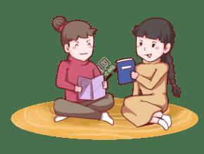 手绘女孩寒假开心看书