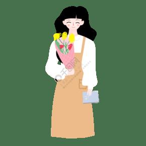 抱著一束花微笑著的女老師