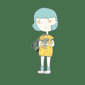 拿著一束花的可愛女孩