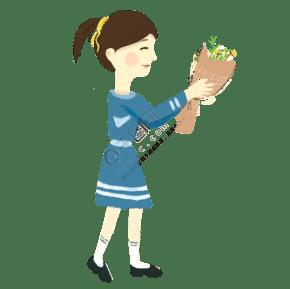 拿著一束綠色花送給老師的女孩