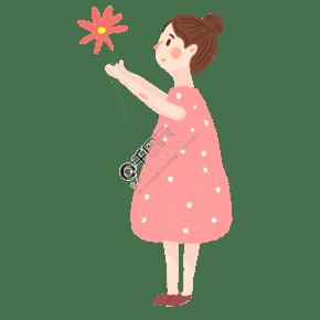 拿著一朵紅花的花苞女孩免摳圖