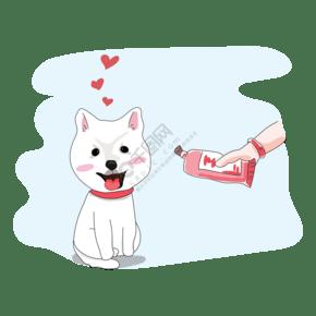手繪喂狗狗吃營養膏