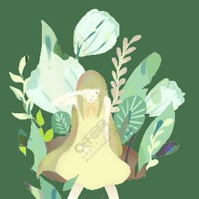手绘立春人与叶插画