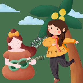跳舞的可爱女孩插画