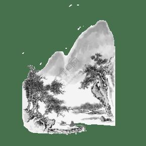 國畫水墨山水東方意境黑白PNG