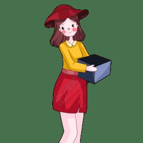 手绘抱着年货的女孩插画