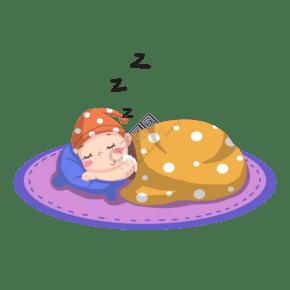 手绘卡通睡觉的可爱宝宝