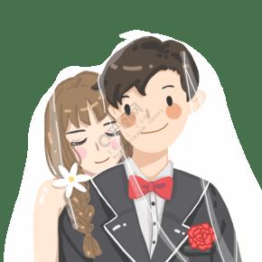 卡通手绘扁平风格情侣夫妻婚纱照片头像