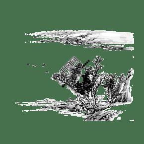 水墨山水中國線條國畫黑白PNG